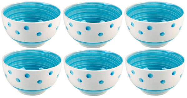Set of 6 Breakfast Bowls Stoneware Blue Polka Dot & Swirls Cereal Soup Bowls