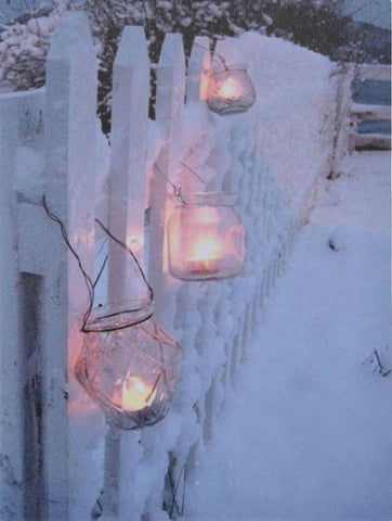 LED Light up Canvas Pictures 40cm x 30cm Wall Hanging Art Snow Fence & Lanterns