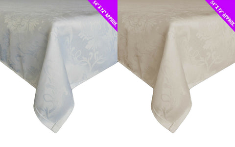 Damask White & Cream Patterned Tablecloth Rectangle 54 x 71 inch 137cm x 178 cm