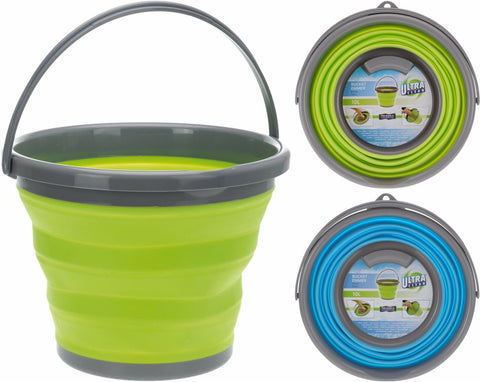 10 Litre Collapsible bucket In Green / Blue Ideal for Camping or Fishing Bucket