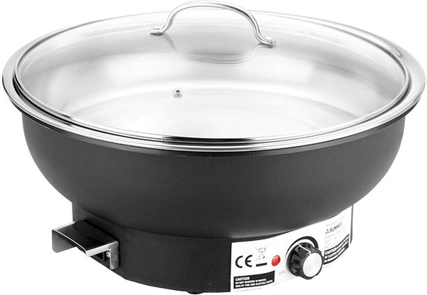 Sunnex 6.8 Litre Electric Large Chaffing Dish Chaffer Food Warmer With Glass Lid