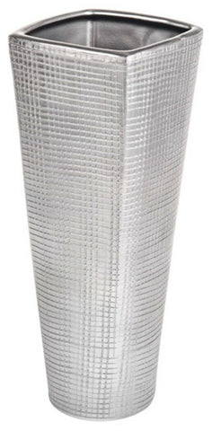 Tall Large 34cm Tall Silver Ceramic Flower Vase Titan Tapered Vase Silver Check