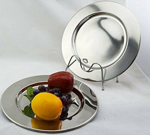 Set of 6 Stainless Steel Charger Plates 30.5cm Highly Polished Under Plates