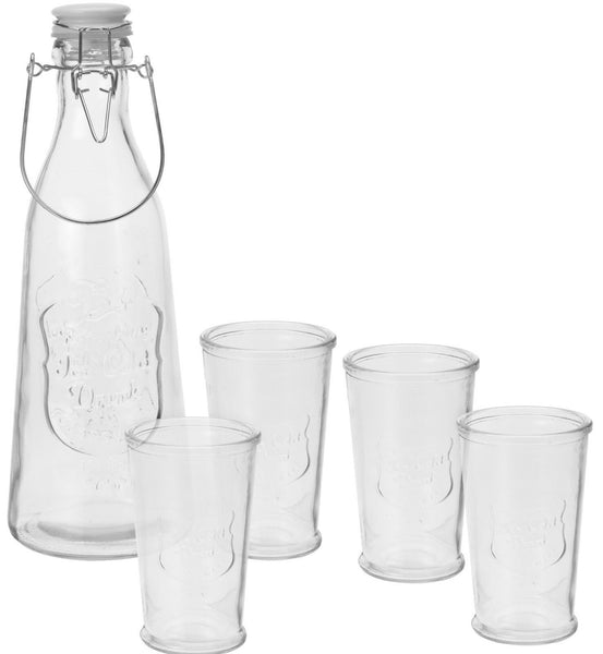 Glass Drinkware Set. Cliptop Bottle Carafe & 4 Glass Tumbler Set Stacking Glass