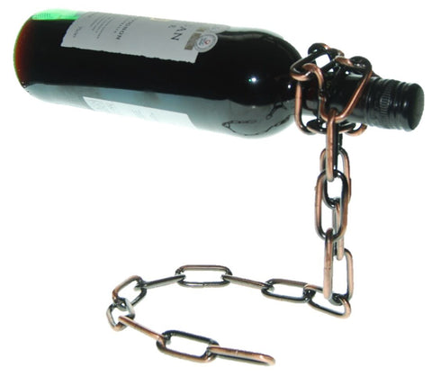 Floating Chain Wine Bottle Holder Stand Rack Tabletop Display Illusion Gift