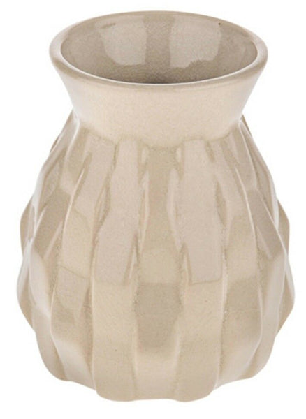 Small Beige Flower Vase 15cm Tall, Round Patterned Vase With Wide Body