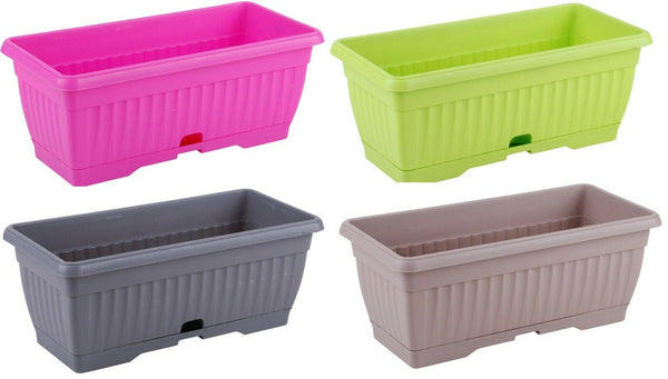 Large 40cm Bright Colour Planters With Water Reserve Window Box Plant Pot