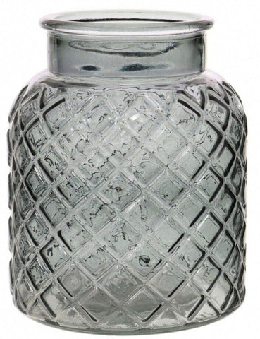 Charcoal Glass Flower Vase Wide Mouth Flower Vase Lattice Design Etched Design