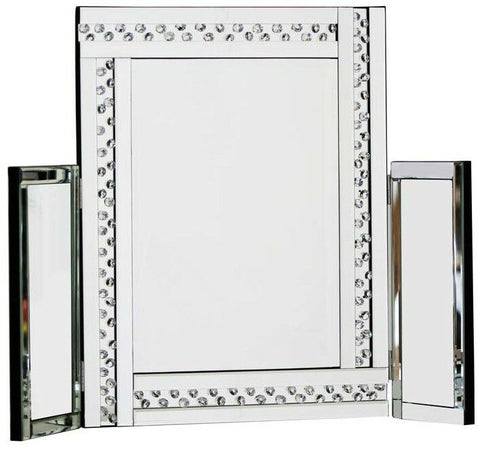 Elegant Vanity Dressing Table Mirror Large Glitz Silver All Made Of Glass 62cm