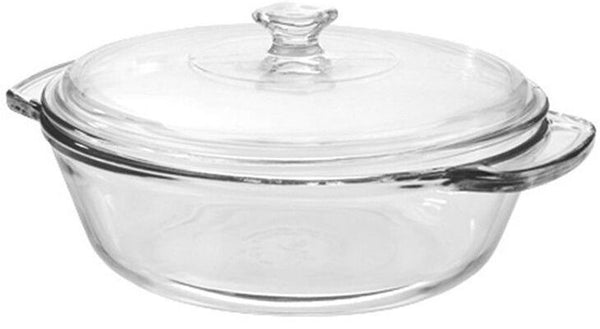 Anchor Hocking Large Round Glass Ovenware Casserole Dish With Lid Oven To Table