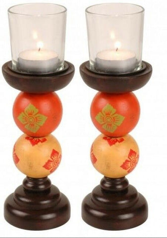 Set of 2 Wood Candlestick Tea Light Holders Candle Stick Glass not included