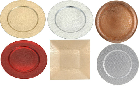 Set of 4 Charger plates 33cm Round & Square Gold Red Copper Silver Charger Plate