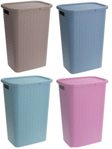 Pastel Colours Rattan Style Plastic Laundry Basket With Lid 60 Litre Capacity