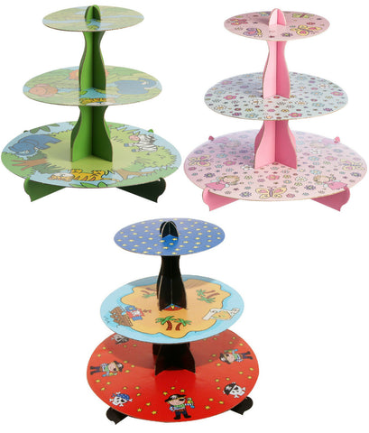 Childrens Themed 3 Tier Cupcake Stand Boys & Girl Theme Cup Cake Holders Stand