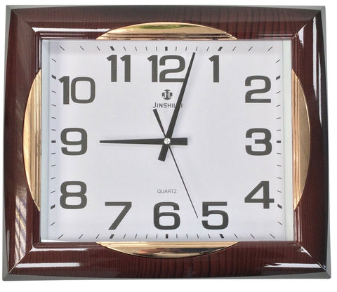 Large 40cm x 35cm Rectangle Wall Clock Silver Frame Wood Effect Frame & Gold