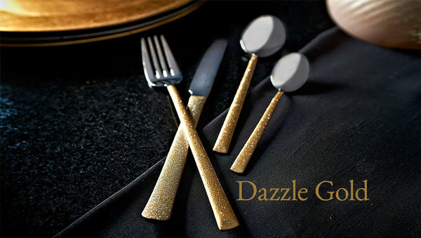 Viners Dazzle Gold 16 Piece Stainless Steel Cutlery Set 18/10 Glitter Handles