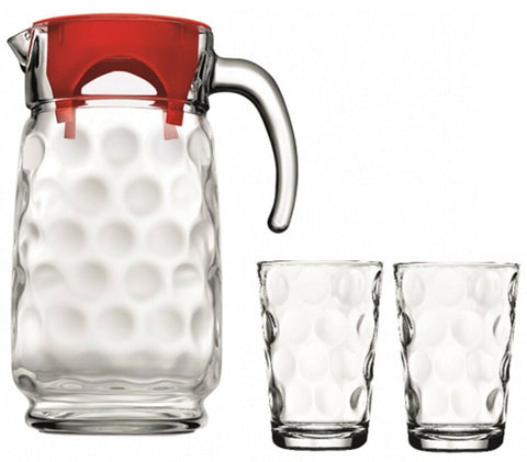 Pasabache 7 Piece Drinkware Set 1 Glass Jug & 6 Tumblers  in Gift Box Polka Dot