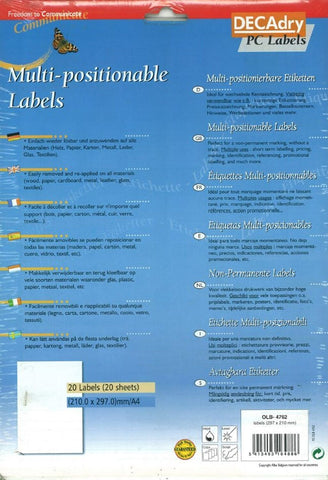 Decadry OLB-4762 Multi Positionable Labels For Use On All Materials