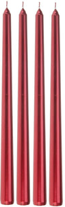 Set of 4 30cm Tall Red Taper Candles or Silver Taper Dinner Candles Extra Long