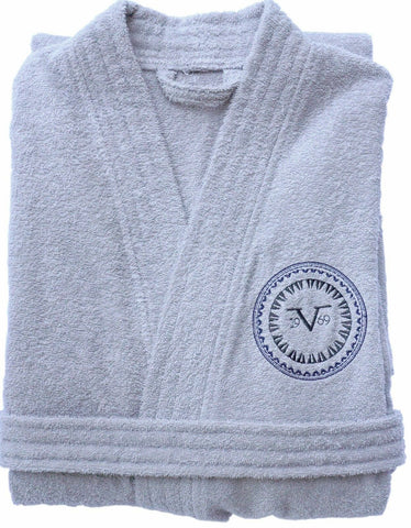 V1969 Unisex Bathrobe Towelling Shawl 100% Cotton Grey Size L/XL