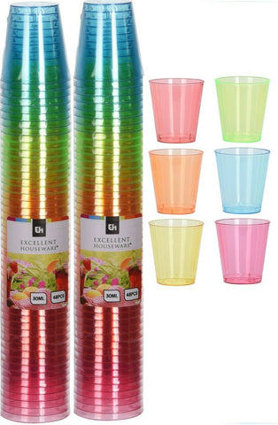 Pack of 96 Bright Coloured Plastic Disposable Shot Glasses 30ml