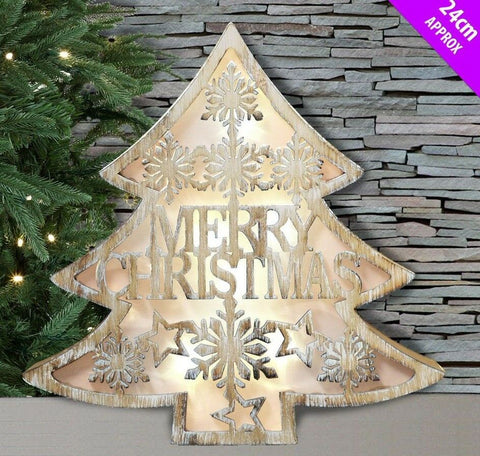 Led Wall / Free Standing Wood Merry Christmas Tree Picture With Led Back Lights