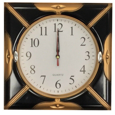 26cm Square Wall Clock Quartz Movement Black & Bronze