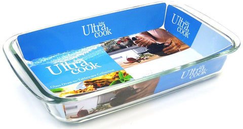 Ultracook Rectangular Roaster with Side Handles Large Dish Glass Roasting Dish
