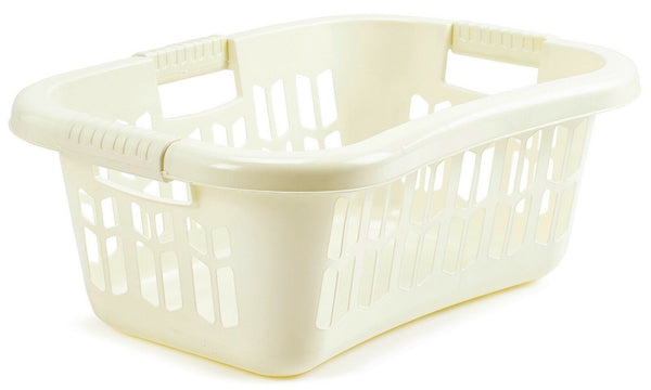 Large Cream Stackable Strong Ergonomic Hip Laundry Washing Basket & Handles