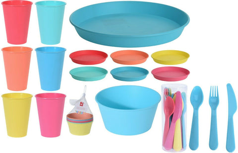 Set of 36 Picnic Camping Plastic Bowls Plates Tumblers & Cutlery SUPER STRONG