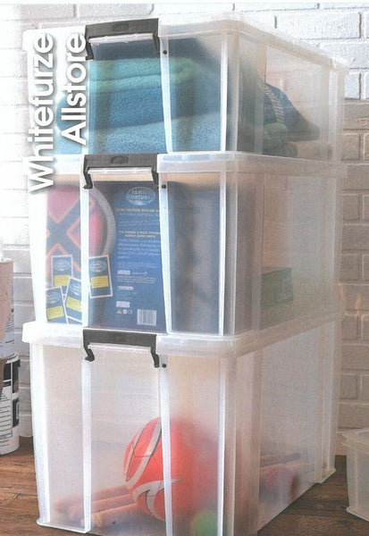 85 Litre Ex Large Storage Boxes Clear Stackable With Clip Lid Storage Containers