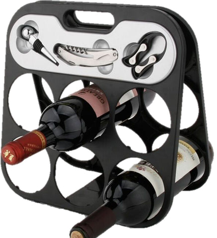 RTA 6 Bottle Countertop Wine Rack with Corkscrew Wine Stopper & Foil Cutter