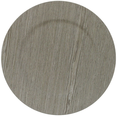 Set of 4 Light Grey Wood Effect Round Charger Plates Under Plates 33cm