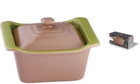 Bergner BG-1802038-BG Brown Stoneware Oven Baking Dish With Lid 0.5 Litre