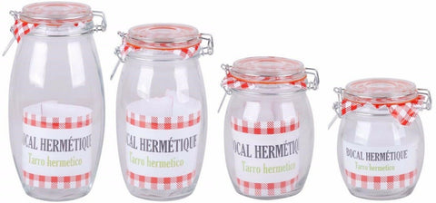 Clip Top Air Tight Storage Jars With Silicone Seal Barrel Shaped Wide Body