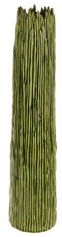 52cm Tall Botanica Green Ceramic Flower Vase Unique Rippled Design