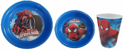 Spiderman  Melamine Mealtime 3 Piece Set Childrens Dinner Sets Bowl Plate Cup