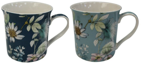 Leonardo Collection Set of 4 China Coffee Mugs Set Floral Daisy Meadow Flowers