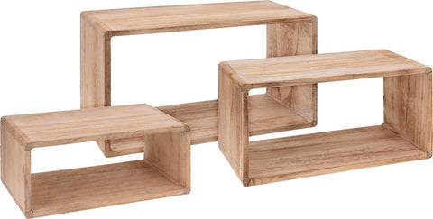 Set of 3 Wood Rectangle Shelving Cube Units Wall Hung or Free Standing