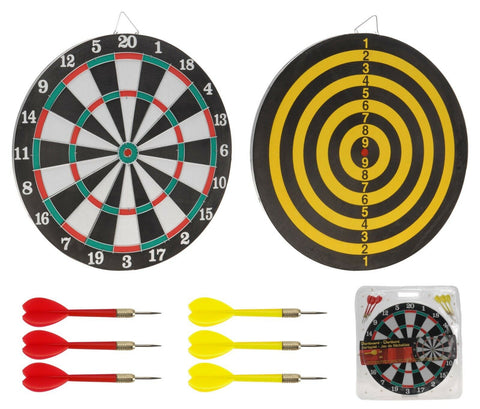 37cm Large Double Sided Dartboard With 6 Darts. Wall Hanging Hook Dart board