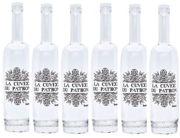 Set of 6 La Cuvée Du Patron Glass Bottles Can be used for wine bottles or juice