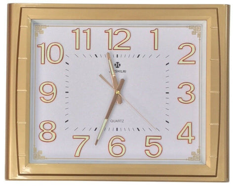Large 50cm x 40cm Rectangle Wall Clock Gold Frame Luminous Fluorescent