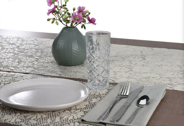 Set of 4 Large PVC Rectangle Placemats Floral Design Grey & Cream