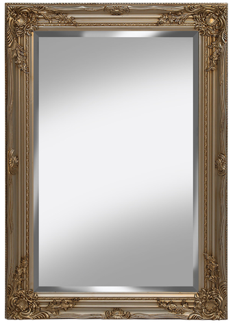 Large Ornate Champagne Wall Mirror 60cm x 90cm With Ornate Detail on Frame
