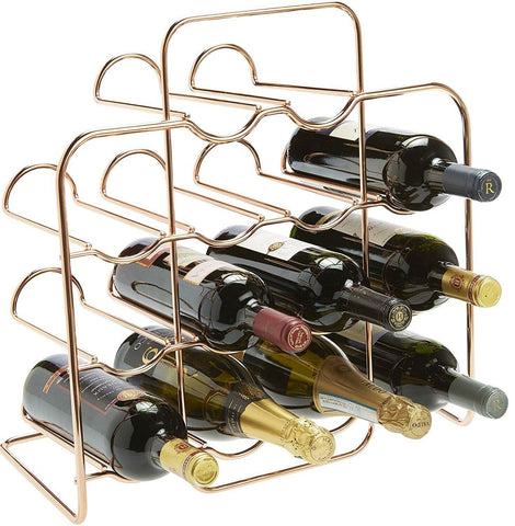 RTA 14 Bottle Rose Gold Metal Wine Rack Free Standing Wine Rack