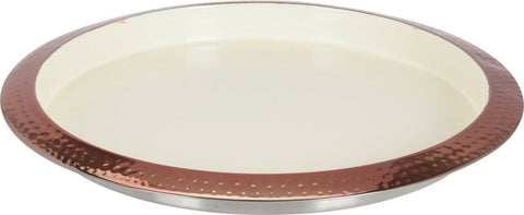 Large 35cm Round Hammered Copper & Cream Serving Tray Hammered Finish Metal Tray