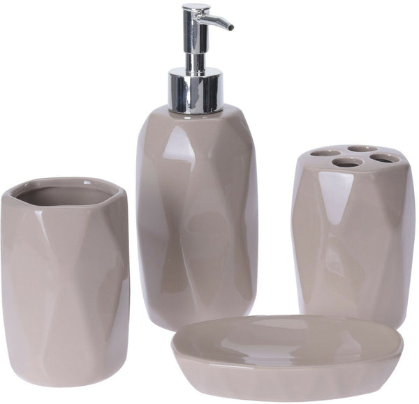 Ceramic Stoneware Bathroom Set Soap Dispenser Tooth Brush Holder Cup Soap Tray
