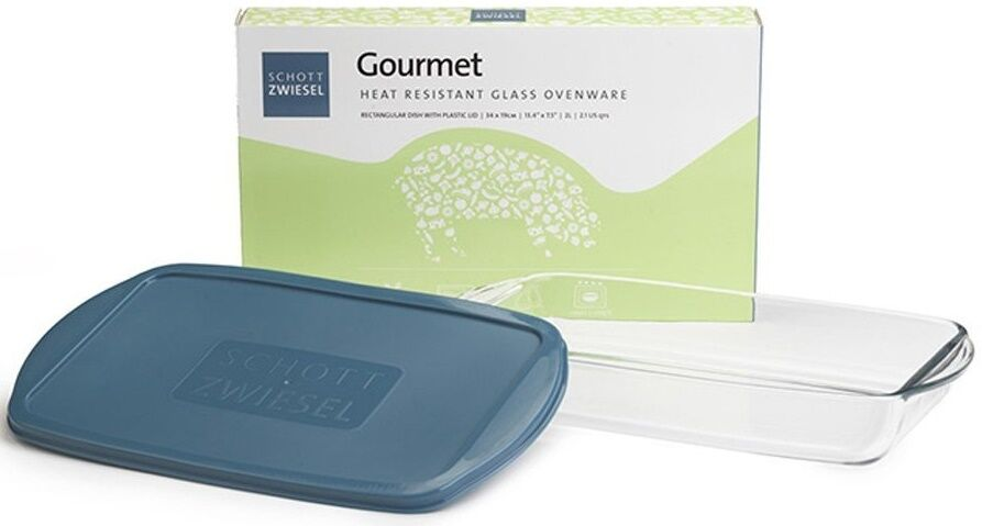 Schott Zwiesel Large Rectangle Glass Oven Roasting Dish With Plastic Lid