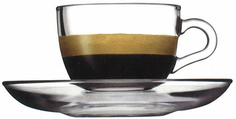 Pasabahce Glass Espresso Cups & Saucers Plates 90ml Set of 6