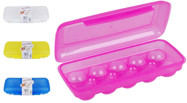 Bright Coloured Plastic 10 Cup Egg Holder Storage Container with Lockable Lid